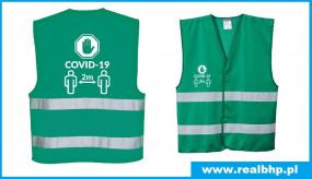 Kamizelka ostrzegawcza zielona COVID-19